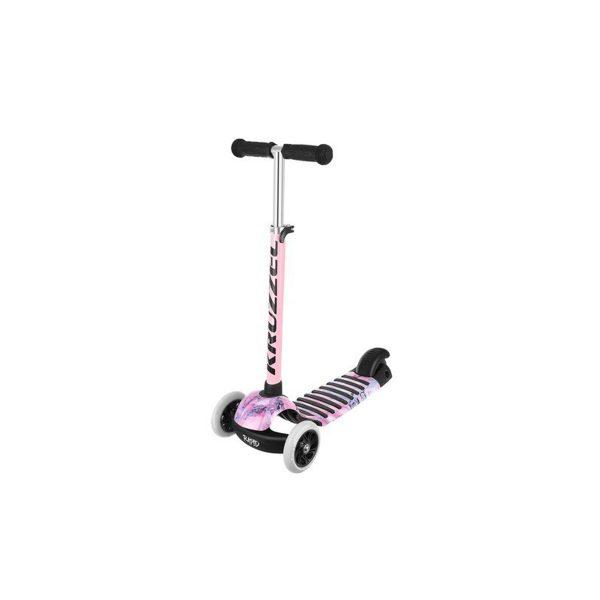 Detská kolobežka trojkolka Rapid   ružová, trojkolesová kolobežka, LED svietiace kolesá, výškovo nastaviteľná riadidlá - 3 úrovne, nosnosť až do 60 kg.