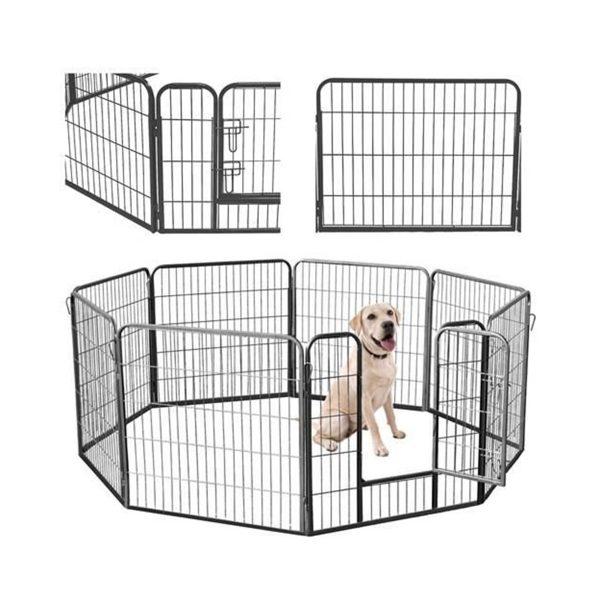 Kovová ohrádka pre psíkov a šteniatka 8 dielna 80 x 80 cm | Malatec, stabilná a pevná konštrukcia, plocha až: 19,2 m2, vhodná do bytu aj záhrady a terasy.