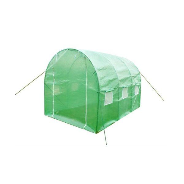 Záhradný fóliovník oblúkový 4x2,5x2m | 10 m2, na pestovanie teplomilnej zeleniny ako sú paradajky, uhorky, paprika, kapusta. Bočné okná, 2 vchod.