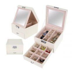 Šperkovnica so zrkadlom kufríková na kľúč | Beautylushh - biela, dve úrovne na odkladanie bižutérie, vhodné ako darček pre každé dievča a dámu.