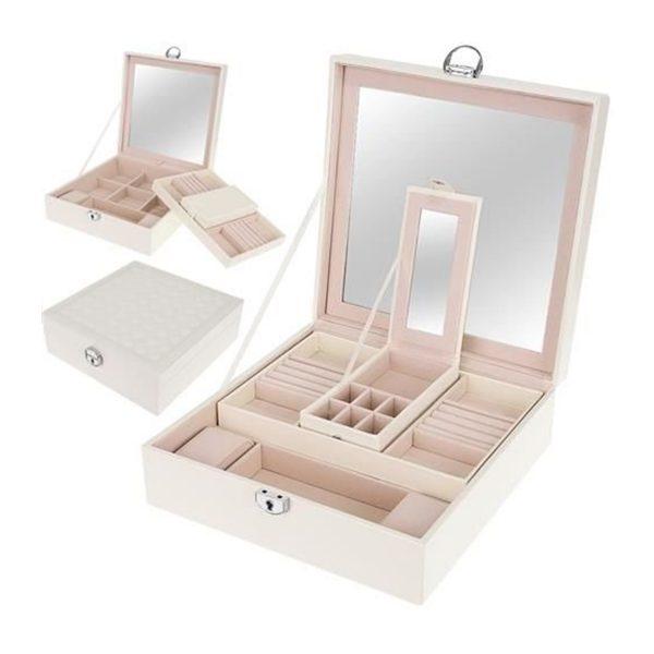 Šperkovnica so zrkadlom kufríková na kľúč | drevená- biela, moderný organizér na šperky, náušnice, hodinky, náramky a bižutériu, vhodné ako darček.