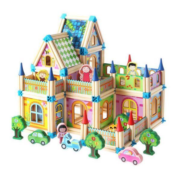 Drevená stavebnica zámok 6v1 | 128 ks, edukačná hračka, pre deti od 3 rokov, skladaním sa rozvíja predstavivosť, manuálne zručnosti a logické myslenie.