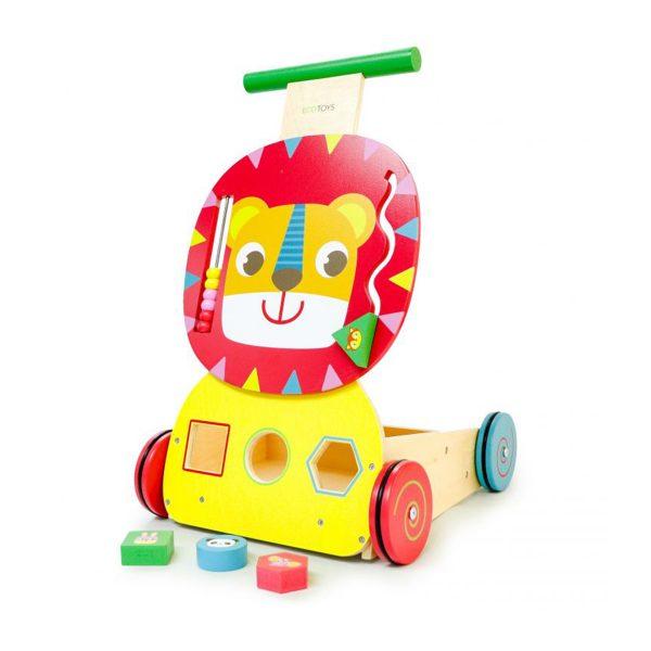 Drevené chodítko edukačné | Lev, počítadlo a triedič elementov, funguje ako vkladač elementov rôznych tvarov, počítadlo a labyrint. Pre deti od 12 mesiacov.