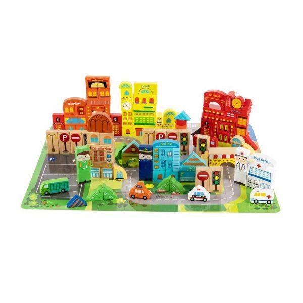 Drevené kocky mesto s podložkou - puzzle | 196 kusov, pre deti od 3 rokov, bloky obsahujú grafiku budov, vozidiel a dopravných značiek.