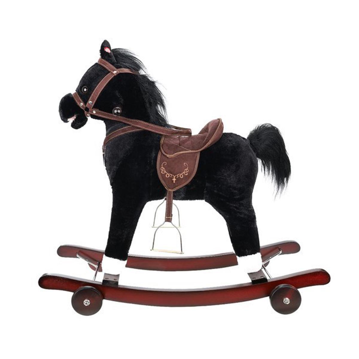 Hojdací koník a odrážadlo s kolieskami 2v1   čierny Kruzzel, tlačidlo pre príjemnú hudbu v ušiach koníka, vhodné od 3+ rokov dieťaťa.