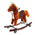 Hojdací koník a odrážadlo s kolieskami 2v1 | hnedý Kruzzel, praktická hračka, ktorá zlepšuje koordináciu a udržiavanie rovhováhy, vhodné pre dieťa od 3+