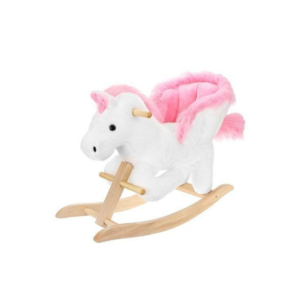 Hojdací koník kolíska 70 cm | bielo-ružový Kruzzel, vhodné: od 18 mesiacov, vysoké a bezpečné sedadlo s operadlom,reproduktor pre príjemnú hudbu
