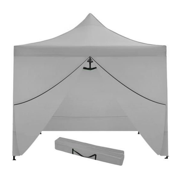 Nožnicový stan 3x3m   4 stenný - šedý, jednoduché rozloženie a zloženie stanu, materiál: polyester + PVC, Oxford 420D, 210D, pre vonkajšie akcie.