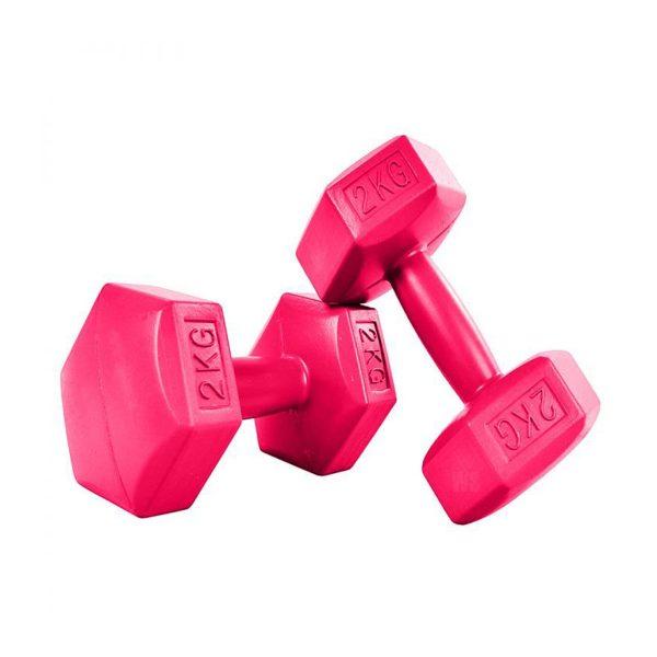 Sada šesťhranných činiek | 2x2 kg FITNESS, ideálne na aerobný a kondičný tréning. Môžete precvičovať ramená a ruky, pohodlné rukoväte.