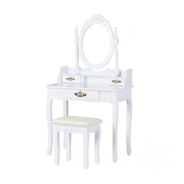 Toaletný stolík so zrkadlom + stolička | Avery, praktický kozmetický stolík do spálne alebo študentskej izby, na líčenie a zároveň uloženie šperkov.