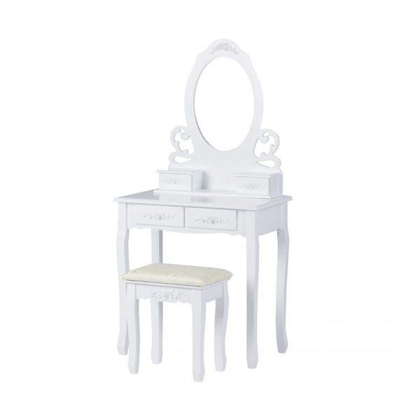 Toaletný stolík so zrkadlom + stolička | Ella, kozmetický stolík vyhotovený vo viktoriánskom štýle, s praktickým organizérom 4 zásuvkami pre každú dámu.