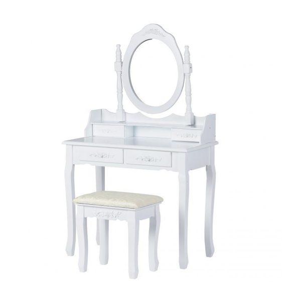 Toaletný stolík so zrkadlom + stolička | Grace, so 4 zásuvkami, zhotovený v klasickom štýle, vhodný pre každú dámu ako nábytok do spálne.