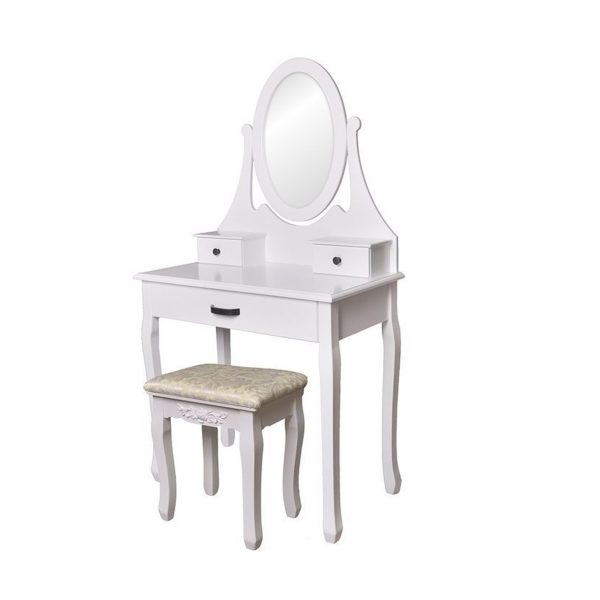 Toaletný stolík so zrkadlom + stolička | Riley, kozmetický stolík zhotovený v škandinávskom štýle, vhodný bytový doplnok do každej spálne a študentskej izby