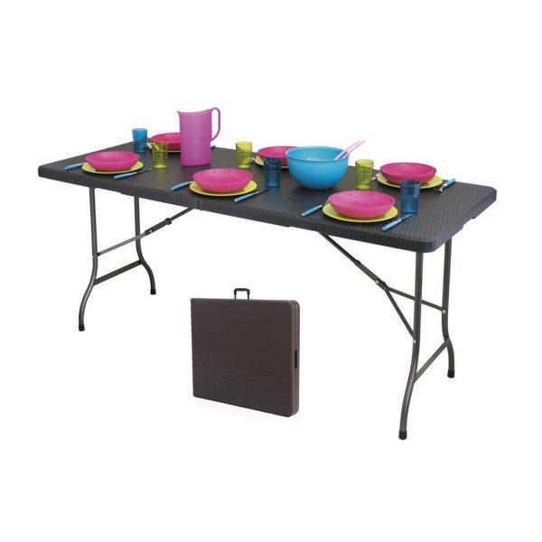 Záhradný skladací cateringový, banketový stôl | 180x75 cm hnedý - vzor ratan, max. zaťaženie 100 kg, jednoduché rozloženie, vhodný pre rodinné oslavy.