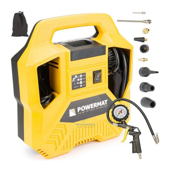 Kompresor bezolejový 180/8 | PM-KB-1100T Powermat, praktický pomocník do dielne na nafukovanie športových lôpt, matracov, pneumatík, plášťov na bicykle.