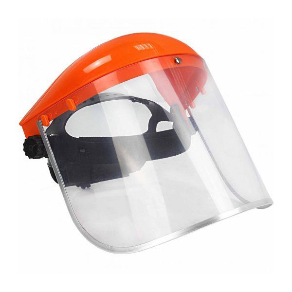 Ochranná maska na kosenie | MAR-POL M83093-2, vyrobený z PVC / PVC s veľkým zorným poľom 39 cm x 19,5 cm poskytuje úplnú ochranu pri kosení trávnika.