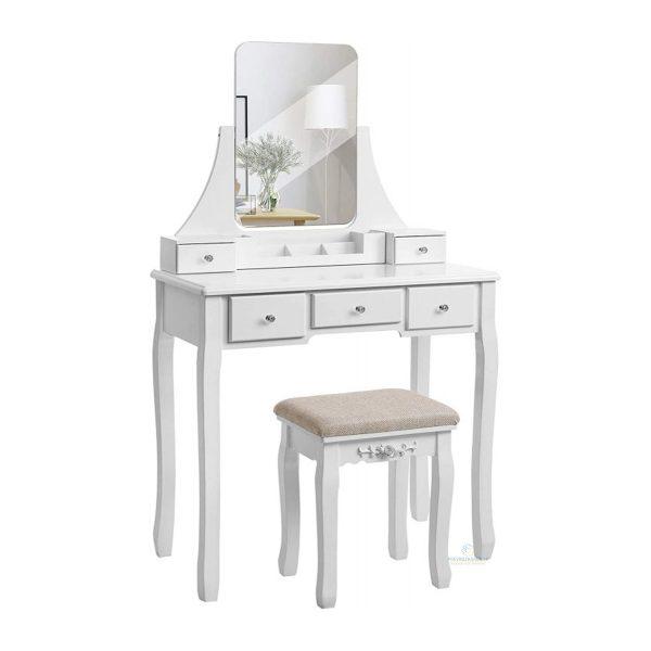 Toaletný stolík s otočným zrkadlom + stolička | Madison, dizajnovo nádherný kozmetický stolík s otočným zrkladlom a praktickou stoličkou.