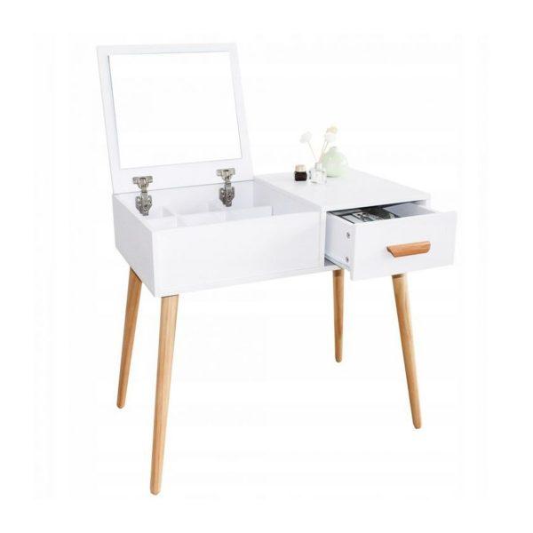 Toaletný stolík s veľkým sklopným zrkadlom | Madeline, kozmetický stolík, doplnkom modernej dámy do študentskej izby alebo akostolíky do spálne.
