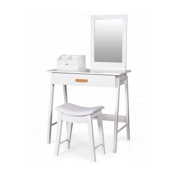 Toaletný stolík so zrkadlom + stolička | Ruby, kozmetický stolík vyhotovený v novodobom moderno štýle, praktická veľká spodná zásuvka.