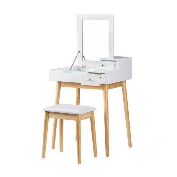 Toaletný stolík so sklopným zrkadlom + stolička | Sarah, kozmetický stolík s praktickým sklopným zrkadlom, ktoré šetrí priestor v spálni, študentskej izbe.