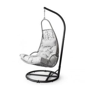 Záhradné závesné lehátko a hojdačka - hniezdo | šedá, pohodlná, komfortná a stabilná, vhodná na relax v záhrade alebo terase pri čítaní knihy.
