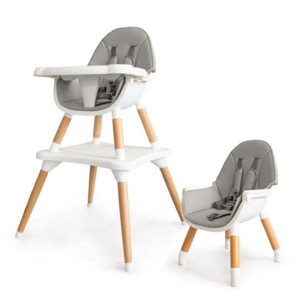 Detská jedálenská stolička, stôl - 2v1 | šedá