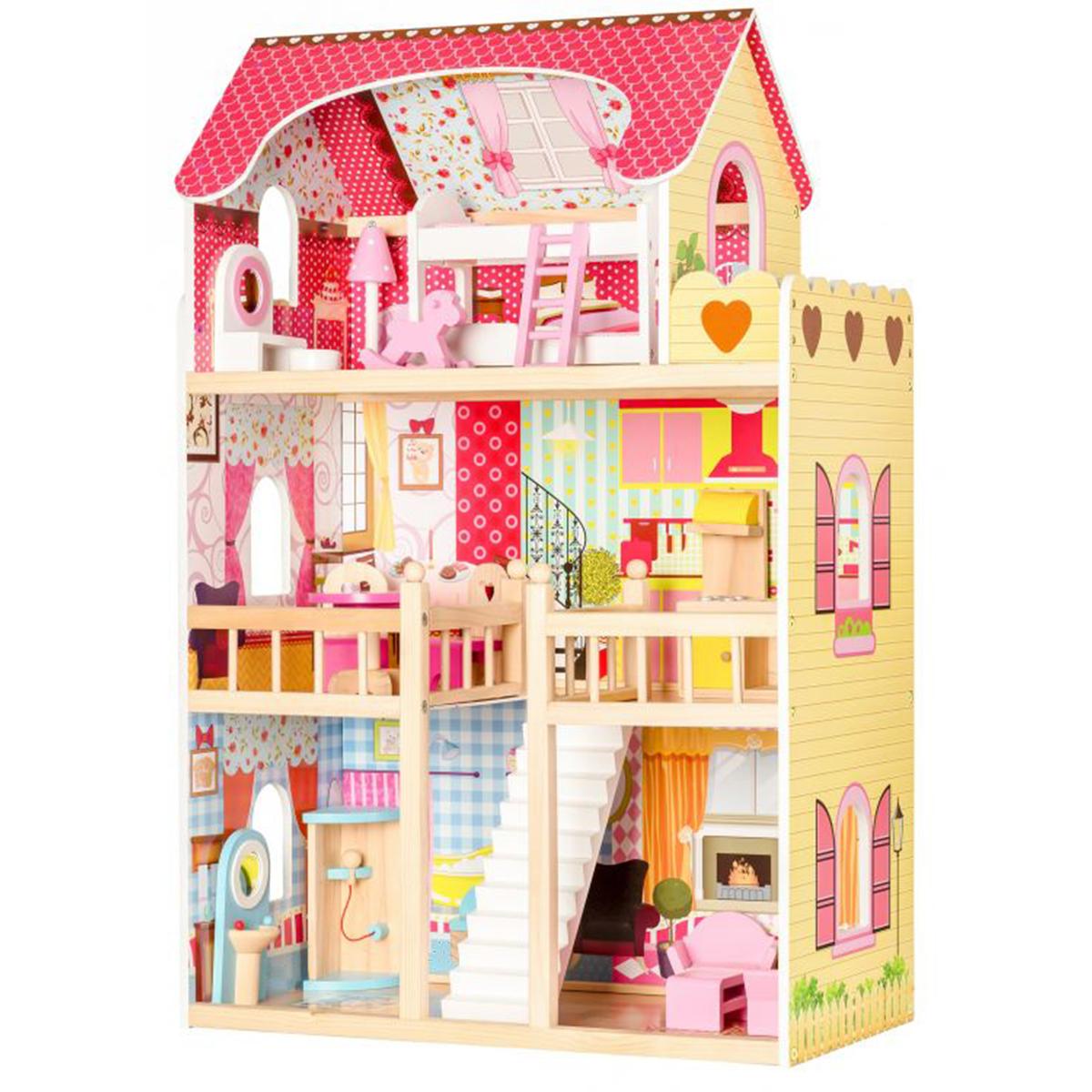 Drevený domček pre bábiky malinový | + 2 bábiky