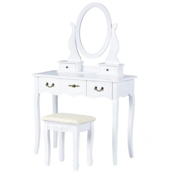 Toaletný stolík so zrkadlom + stolička | biela farba