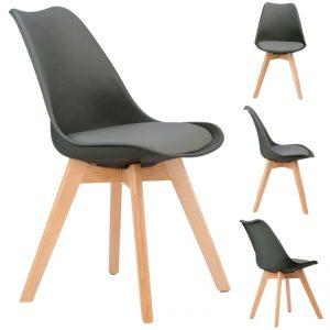 Sada stoličiek s poduškou - sivá, 4ks | VENICE, v modernom škandinavskom štýle sú perfektným kusom nábytku do obývacej izby alebo jedálne.