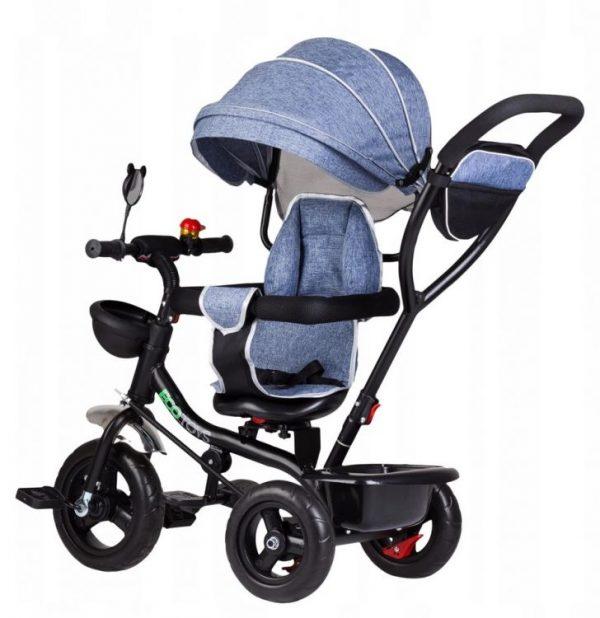 Trojkolka s otočným sedadlom | šedá, s otočným sedadlom, ktoré sa dá umiestniť v smere na rodiča alebo v smere jazdy. Pratkický košík na hračky.