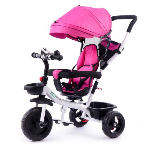 Trojkolka s vodiacou tyčou | ružová, pre deti od 6 mesiacov do 5 rokov a s maximálnym zaťažením 25kg. Zvonče, odkladací košík na hračky.
