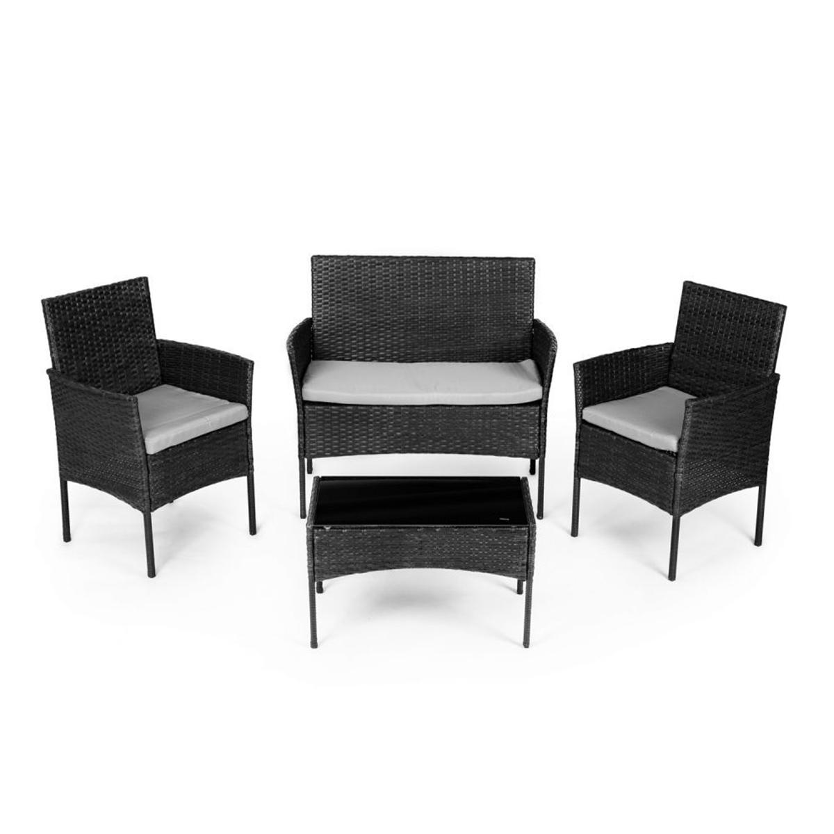Záhradná zostava ratanová | 2x kreslo lavica stôl