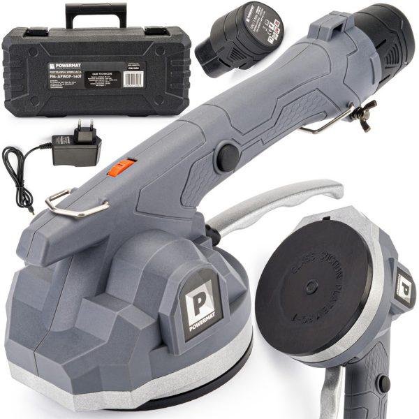 AKU vibračná prísavka na obklady a dlažbu 12V   PM-APWDP-160T je vhodná na obklady a malé podlahové dlaždice. Kapacita batérie: 1,5 Ah.